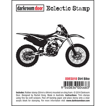 Darkroom Door - Eclectic Stamp - Dirt Bike - Red Rubber Cling Stamp