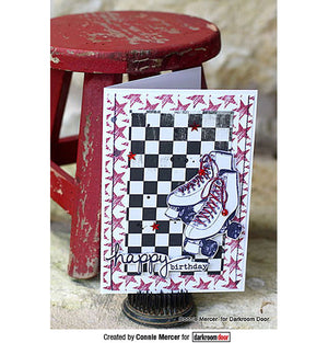 Darkroom Door -  Eclectic Stamp - Roller Skates - Red Rubber Cling Stamp