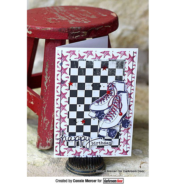 Darkroom Door - Roller Skates - Red Rubber Cling Stamp