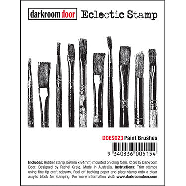 Darkroom Door - Eclectic Stamp - Paint Brushes - Red Rubber Cling Stamp
