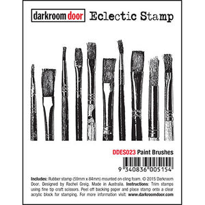 Darkroom Door - Paint Brushes - Red Rubber Cling Stamp