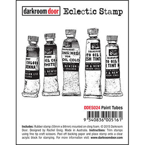 Darkroom Door - Paint Tubes - Red Rubber Cling Stamp