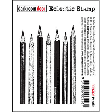Darkroom Door - Eclectic Stamp - Pencils - Red Rubber Cling Stamp