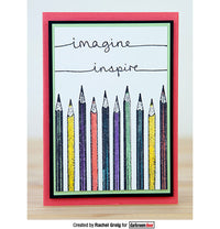 Darkroom Door - Pencils - Red Rubber Cling Stamp