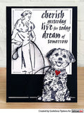 Darkroom Door - Sitting Dog - Red Rubber Cling Stamp
