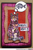 Darkroom Door - Sitting Cat - Red Rubber Cling Stamp