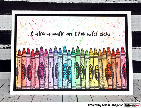 Darkroom Door - Crayons - Red Rubber Cling Stamp