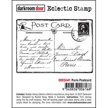 Darkroom Door - Paris Postcard - Red Rubber Cling Stamp