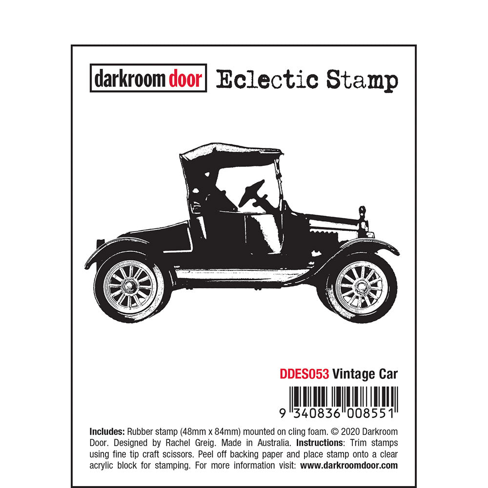 Darkroom Door - Eclectic Stamp - Vintage Car - Red Rubber Cling Stamp