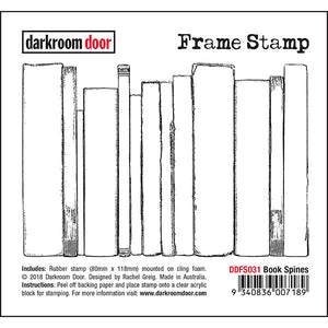 Darkroom Door - Frame Stamp - Book Spines - Red Rubber Cling Stamps