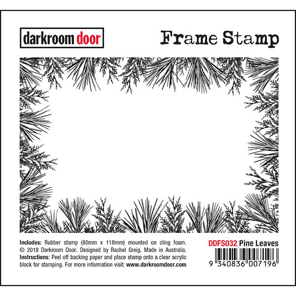Darkroom Door - Frame Stamp - Pine Leaves - Red Rubber Cling Stamps