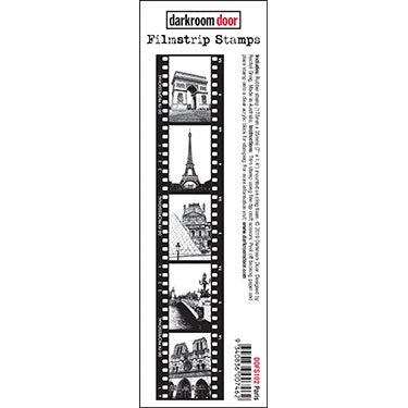 Darkroom Door - Filmstrip Stamp - Paris - Red Rubber Cling Stamp
