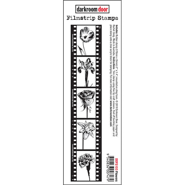 Darkroom Door - Filmstrip Stamp - Flowers - Red Rubber Cling Stamp
