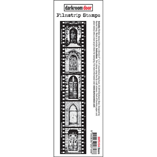 Darkroom Door - Filmstrip Stamp - Doors - Red Rubber Cling Stamp