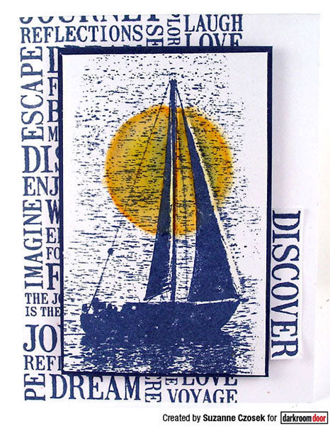 Darkroom Door - Sailboat - Rubber Cling Photo Stamp