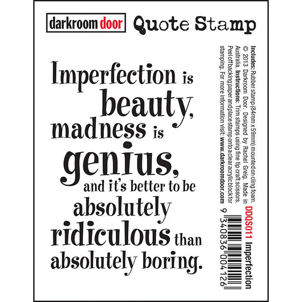 Darkroom Door - Quote Stamp - Imperfection - Red Rubber Cling Stamp