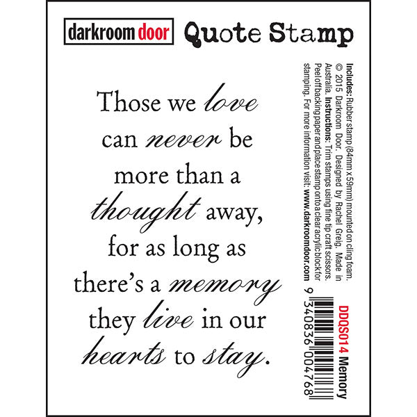 Darkroom Door - Quote Stamp - Memory - Red Rubber Cling Stamp