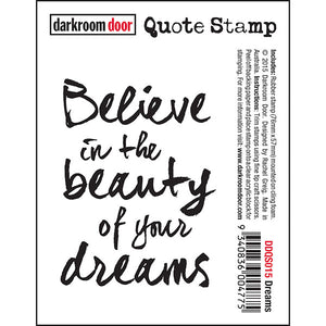 Darkroom Door - Quote Stamp - Dreams - Red Rubber Cling Stamp