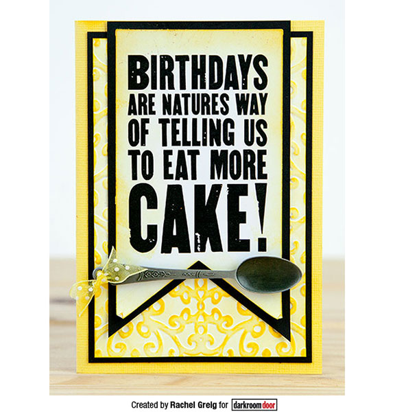 Darkroom Door - Eat More Cake - Red Rubber Cling Stamp
