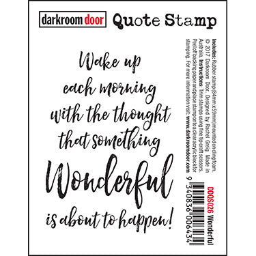 Darkroom Door - Quote Stamp - Wonderful - Red Rubber Cling Stamp