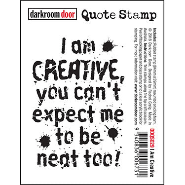 Darkroom Door - Quote Stamp - I Am Creative - Red Rubber Cling Stamp