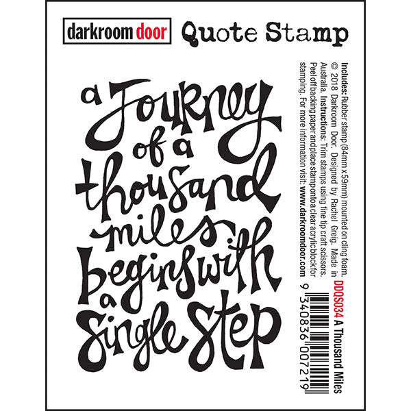 Darkroom Door - A Thousand Miles - Red Rubber Cling Stamp