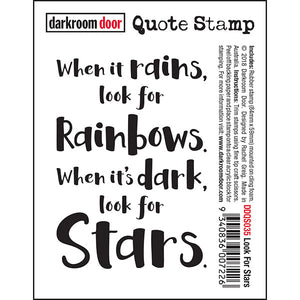 Darkroom Door - Quote Stamp - Look for the Stars - Red Rubber Cling Stamp