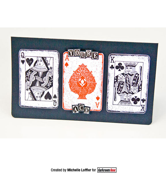 Darkroom Door - Playing Cards - Red Rubber Cling Stamps