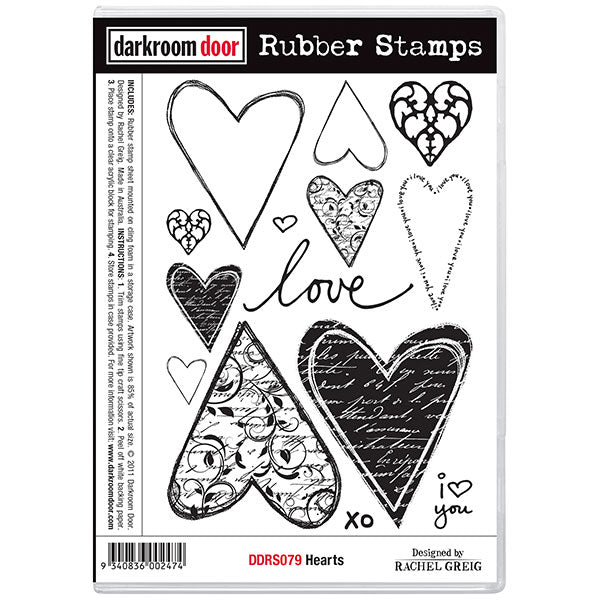 Darkroom Door - Hearts - Red Rubber Cling Stamps