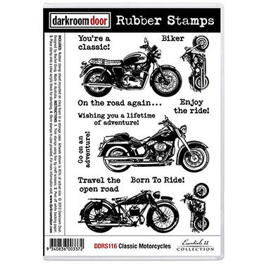Darkroom Door - Classic Motorcycles - Red Rubber Cling Stamps