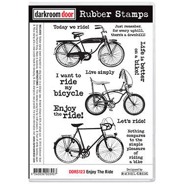 Darkroom Door - Enjoy the Ride - Red Rubber Cling Stamps