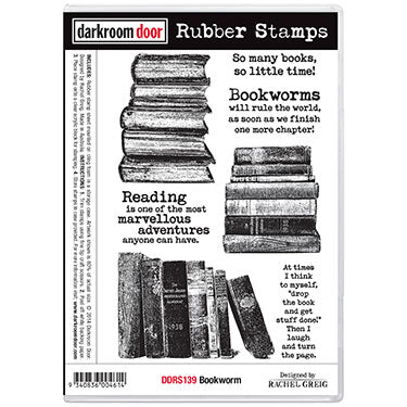 Darkroom Door - Bookworm - Red Rubber Cling Stamps
