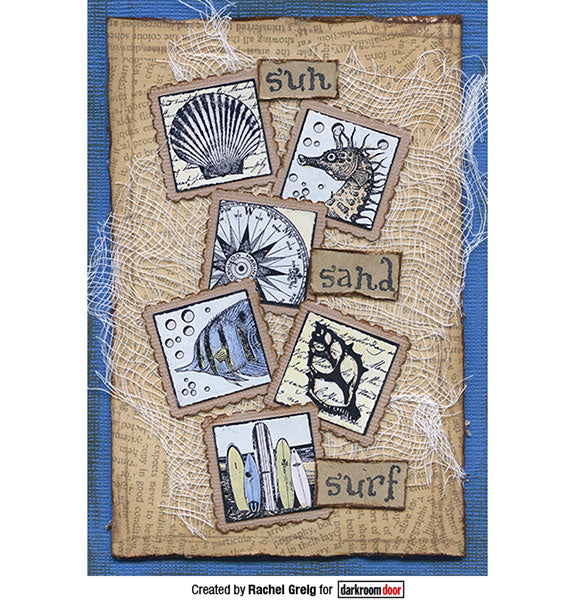 Darkroom Door - Seaside Inchies - Red Rubber Cling Stamps