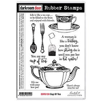Darkroom Door - Cup of Tea - Red Rubber Cling Stamps