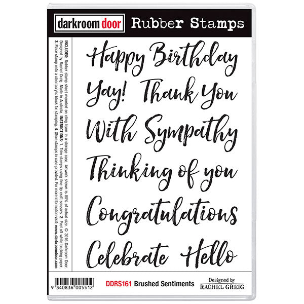 Darkroom Door - Brushed Sentiments  - Red Rubber Cling Stamps