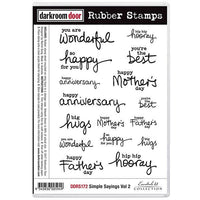 Darkroom Door - Simple Sayings Vol 2 - Red Rubber Cling Stamps