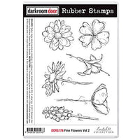 Darkroom Door - Fine Flowers Vol 2 - Red Rubber Cling Stamps
