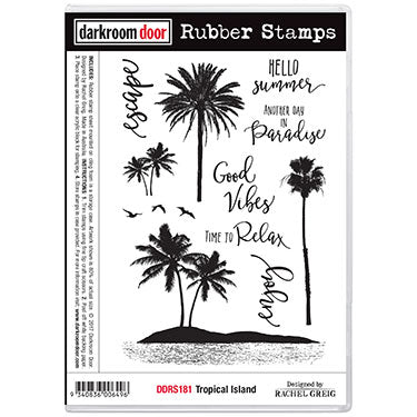 Darkroom Door - Tropical Island - Red Rubber Cling Stamps