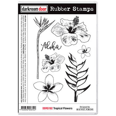 Darkroom Door - Tropical Flowers - Red Rubber Cling Stamps