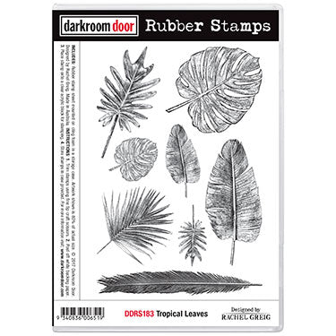 Darkroom Door - Tropical Leaves - Red Rubber Cling Stamps