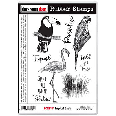 Darkroom Door - Tropical Birds - Red Rubber Cling Stamps