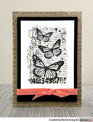 Darkroom Door - Butterfly Script - Red Rubber Cling Stamps