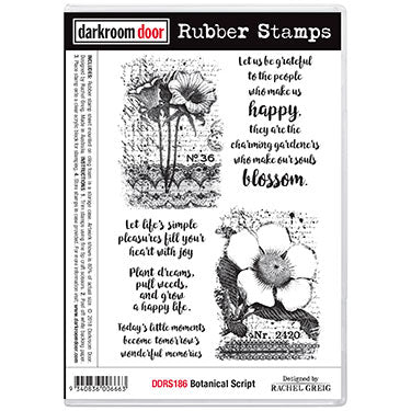 Darkroom Door - Botanical Script - Red Rubber Cling Stamps