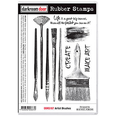 Darkroom Door - Artist Brushes - Red Rubber Cling Stamps