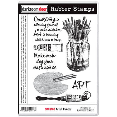 Darkroom Door - Artist Palette - Red Rubber Cling Stamps
