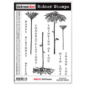 Darkroom Door - Tall Flowers - Red Rubber Cling Stamps
