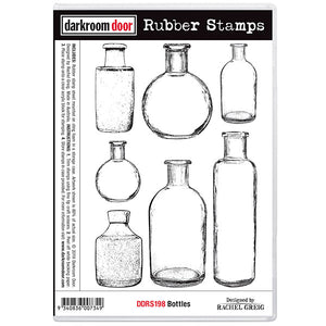 Darkroom Door - Bottles - Red Rubber Cling Stamps