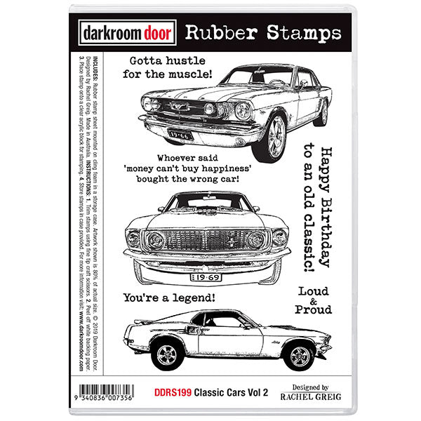 e7747d8f Darkroom Door - Classic Cars Vol 2 - Mustangs - Red Rubber Cling Stamps