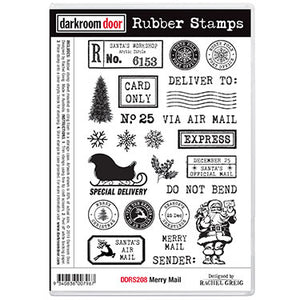 Darkroom Door - Rubber Stamp Set - Red Rubber Cling Stamps - Merry Mail