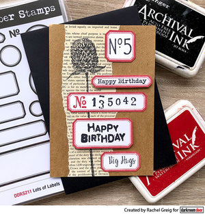 Darkroom Door - Lots of Labels - Red Rubber Cling Stamps